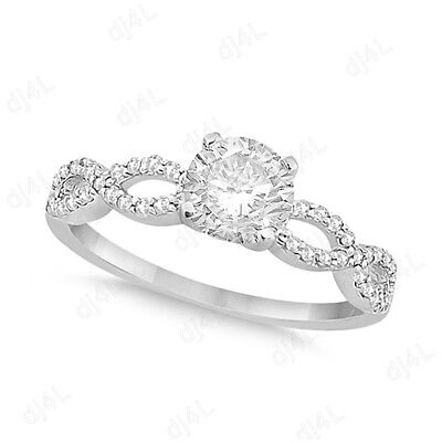 Infinity Round Cut 1.20 Ct Diamond Engagement Women's Ring 14k White Gold Plated