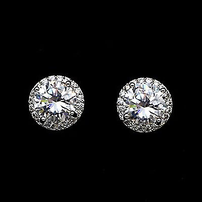 2.50 Ct Round Cut Diamond Solitaire Halo Stud Earrings 14k White Gold Over