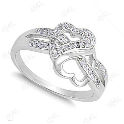 Double Heart Engagement Wedding Ring Round 0.25 Ct Diamond 14k White Gold Plated