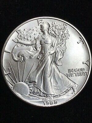 1988 1 oz AMERICAN SILVER EAGLE BRILLIANT UNCIRCULATED ASE  FROM MINT TUB