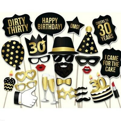 28pcs Happy Birthday Photo Booth Props Set Party Black Gold 30th 40th 50th GN
