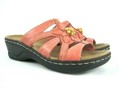 2d2d57d3cece CLARKS Bendables Women s Orange Pink Leather Strappy Sandals Size 5.5 M