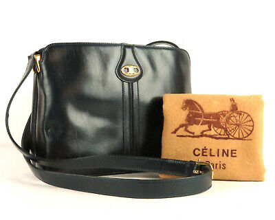 92fc4ef728 100% Auth CELINE Leather Cross Body Shoulder Bag Navy Made In Italy W Dust