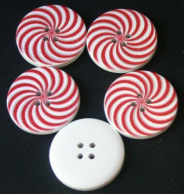 5 Candy Striped Hand Painted Wooden Buttons - Sewing, Craft, Scrapbooking