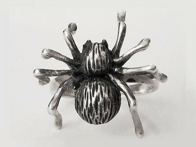 Sovats Unisex 925 Sterling Silver Black Gothic Style Spider Ring, Size 5-12