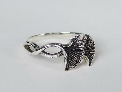 Sovats Women Antique Twist Ginkgo Leaf Flower Ring 925 Silver Ring Size 5-12