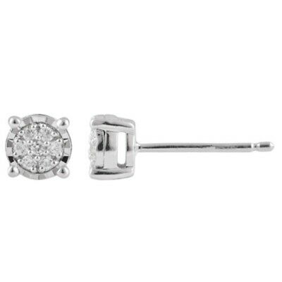 0.11Ct White Natural Round Diamond 925 Sterling Silver Women's Stud Halo Earring
