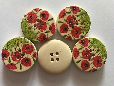 5 Red Poppy Garden on Wood - Wooden Buttons - Sewing,Craft,Scrapbooking