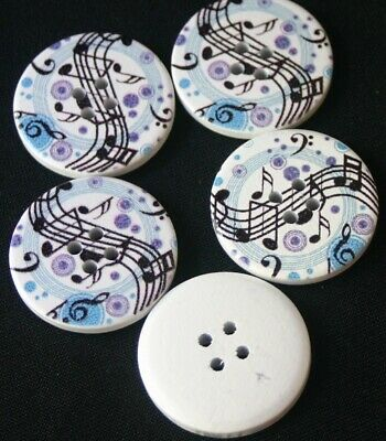 5 Music Notes - Wooden Buttons - Sewing,Craft,Scrapbooking