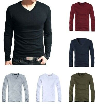c3d99086a9 Elastic Men T Shirt V Neck Long Sleeve Lycra and Cotton For Male Casual  Fashion