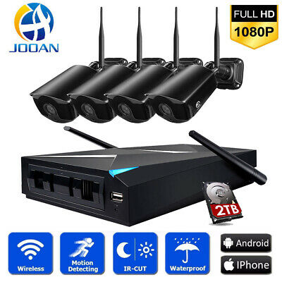 JOOAN 1080P Wireless 4CH NVR Outdoor Home WIFI Camera CCTV Security System Kit