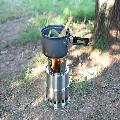 Portable Stainless Steel Lightweight Wood Stove Solidified Alcohol Stove MP