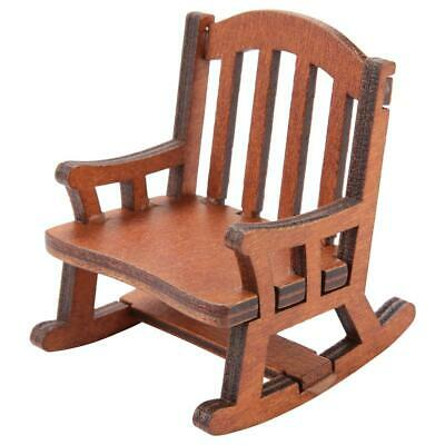 Doll House Miniature Furniture Classic coffee Wooden Rocking Chair 1:12 Scale SG