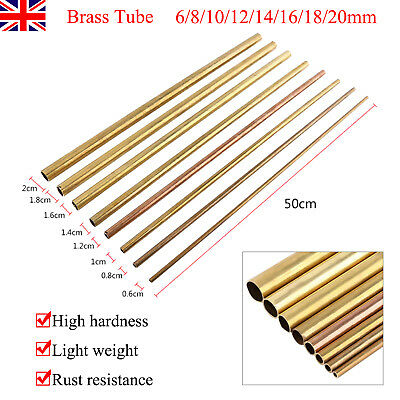 500mm Round Brass Tube Pipe OD 6/8/10/12/14/16/18/20mm Modelmaking High Quality