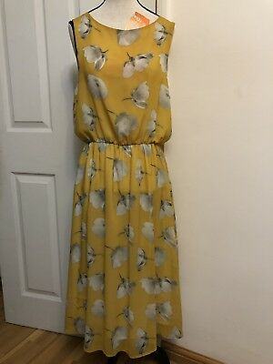 feaafd10f7d8 Topshop Yellow & White Floral Printted Chiffon Dress Size-12 New Without  Tags