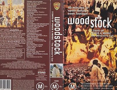 Woodstock The Directors Cut 3 Days Of Peace And Music Pal Vhs~ A Rare Find
