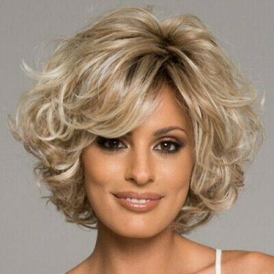 Fashion Blonde Mix Short Curly Wavy Women's Lady's Hair Wig Full Wigs + Wig Cap