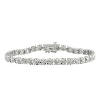 925 Sterling Silver 0.25Ct White Natural Round Diamond Women's Tennis Bracelets