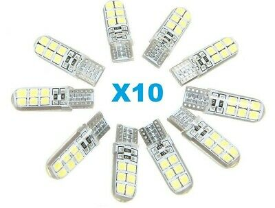 LOT 10 Veilleuses LED W5W T10 Blanc Pur White Canbus ANTI ERREUR 6500k 12 SMD