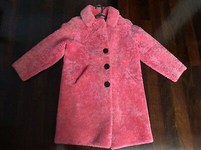 Women's Winter Coat/lambswool Leather/genuine /size 10/pink/excellent Cond.