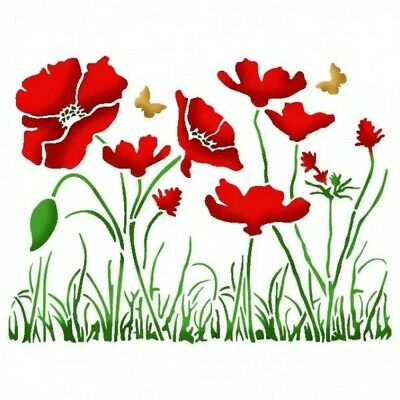 Stamperia A5 Mix Media Stencil – Poppies KSD269 New