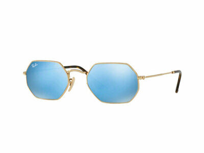 5f7b08fcde555a lunettes de soleil Ray Ban or bleu clair flash RB3556N octogonale 001/9O