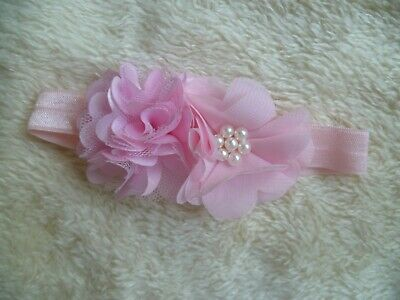 Baby clothes GIRL premature/tiny<7.5lbs/3.4kg cute pink flowers special headband