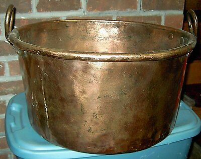 Antique Large All Copper Handcrafted Dovetailed Cauldron Kettle Apple Butter