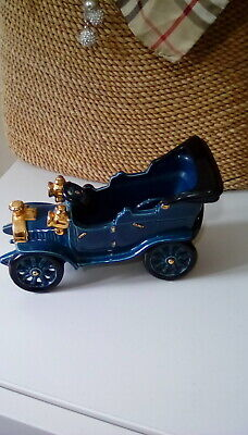 Rare Vintage Genuine Bretby Pottery Early 20Th Century Model Car Blue