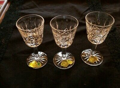 """3 NEW WATERFORD LISMORE 3 1/2"""" Small Liqueur Cocktail Cordial GLASSES W/ LABELS"""