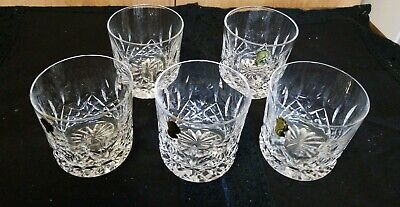 "5 New Waterford Crystal Lismore Old Fashioned 9 Oz 3 1/4"" Rocks Glass Tumblers"