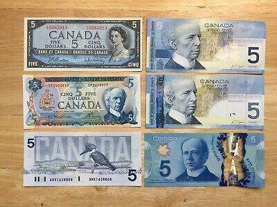 1 Set Of 6 Diffrente $5 Canadian Bank Notes In Uncirculated Condition