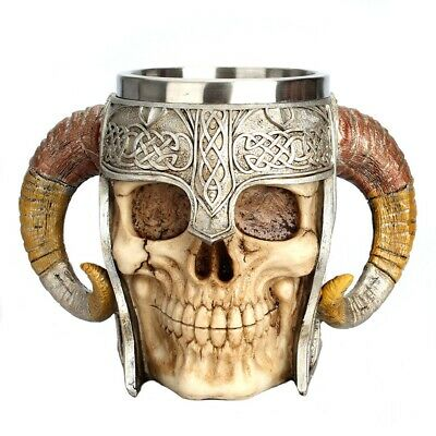 Stainless Steel Skull Mug Horn Warrior Beer Stein Halloween Bar Coffee Tea Cup