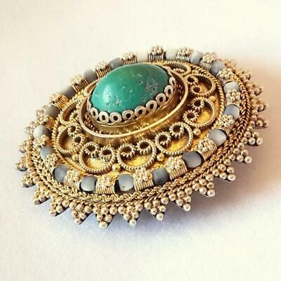 Vintage Granulated filigree Brooch Eilat stone Silver gilded Pin
