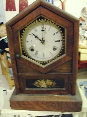 Antique 1870's New Haven Steeple shelf clock, 8 day, Time and strike, runs well