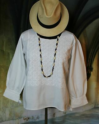 c6ea783ceef09 Vintage Style White Peasant Blouse Mexican Medium Weight Cotton Hand  Embroidered