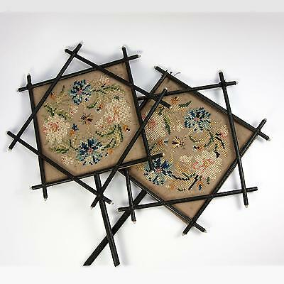 Antique French Face Screen Pair, Victorian Era Chinoiserie, Embroidered Silk