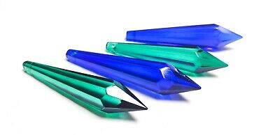 4 Caribbean Green and Cobalt Dark Blue icicle Chandelier Crystals 80mm Pendant