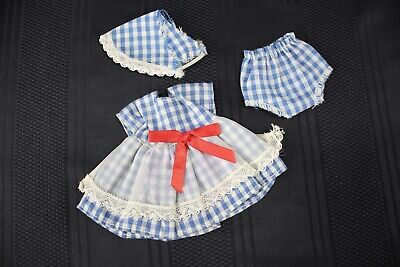 """Vintage 1950's Doll Clothes 8"""" Vogue Ginny Ginger Muffie Blue & White Checks Set"""