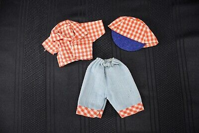"Vintage 1950's Doll Clothes 8"" Vogue Ginny Ginger Muffie Red White Checks Jeans"