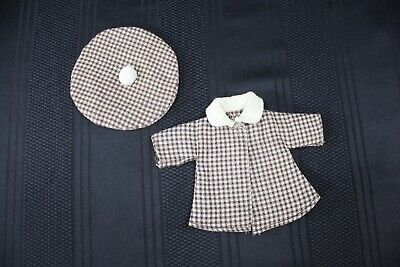 """Vintage 1950's Doll Clothes 8"""" Vogue Ginny Ginger Muffie Brown White Coat & Hat"""