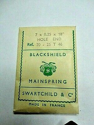 """BLACKSHIELD  Clock Mainspring 7 x 0.25 x 18"""" HOLE END Made in France New"""