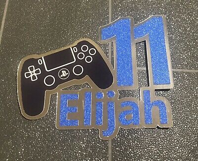 Personalised Ps4 Play Station Game Controller Birthday Cake Topper Age Name