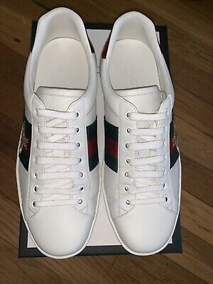 5e0d05f1033 GUCCI ACE WHITE embroidered sneakers Unisex Womens Sz 8 Mens Sz 5.5 ...