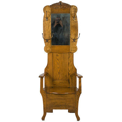 Antique Solid Oak Hall Tree Hall Stand Seated Seat Coat Hat Rack Mirror Storage