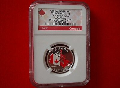 2015 Canada $3 Silver Proof NGC PF70 UCAM 50th Anniversary Of The Canadian Flag