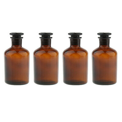 4x Amber Glass Narrow Mouth Bottle Chemical Reagent Storage Glassware 250ml
