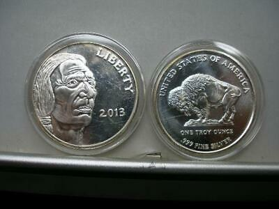 2 Gem B.u. 1 Oz 2013 American Indian Buffalo 1 Oz .999 Fine Silver Art Rounds