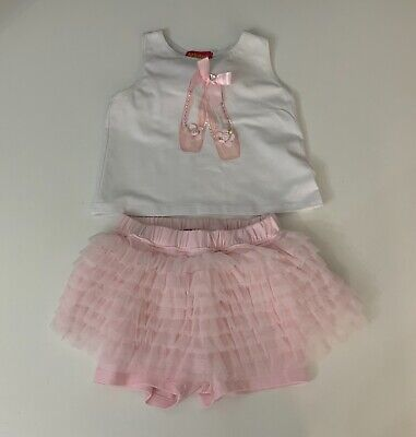 Kate Mack Baby Girls 2 Piece Set Outfit Pink Shorts Top Age 24 Months Pink