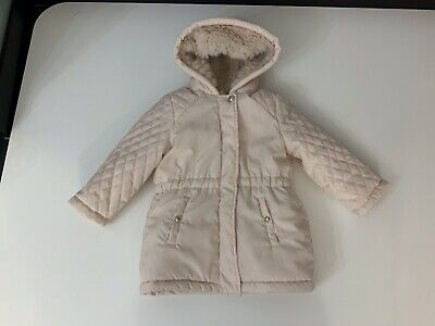 Chloe Girls Fur Lined Coat Jacket Size Age 2 Years Vgc